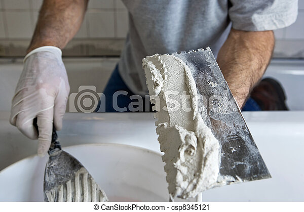badkamer, werkende , muur, vijzel, trowel, tiling, man - csp8345121