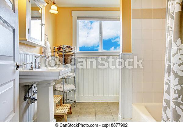 Badkamer, witte , venster, gele. Helder, badkamer, witte , walls., gele.
