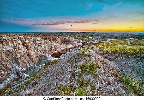 Badlands Sunset HDR - csp16930922