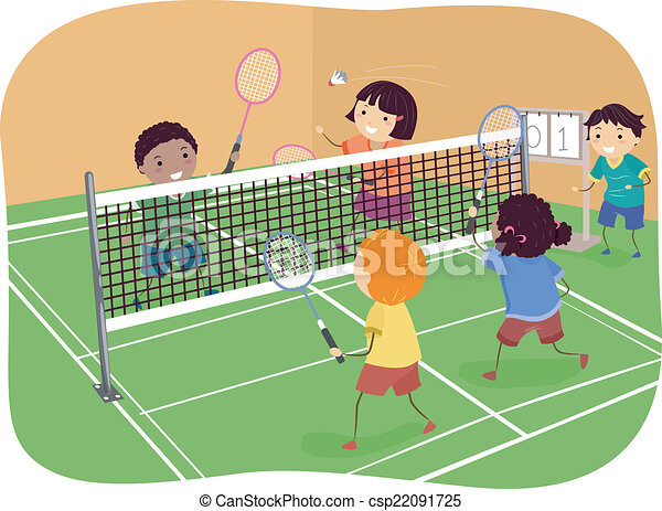 illustration featuring kids playing badminton doubles vector rh canstockphoto com badminton clip art free badminton clip art free