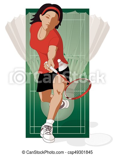 badminton player, female, hitting shuttle - csp49301845