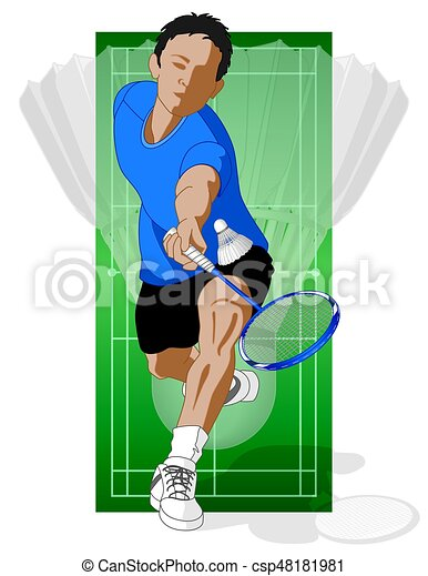 badminton player, male, hitting shuttle - csp48181981