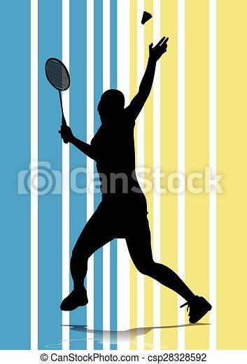 badminton player silhouette - csp28328592