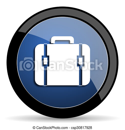 bag blue circle glossy web icon on white background, round button for internet and mobile app - csp30817928