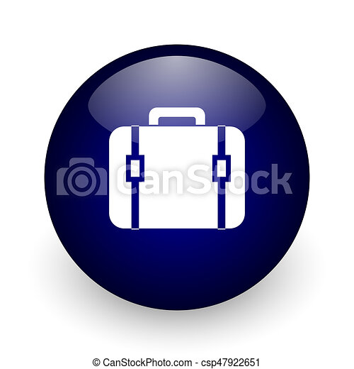 Bag blue glossy ball web icon on white background. Round 3d render button. - csp47922651