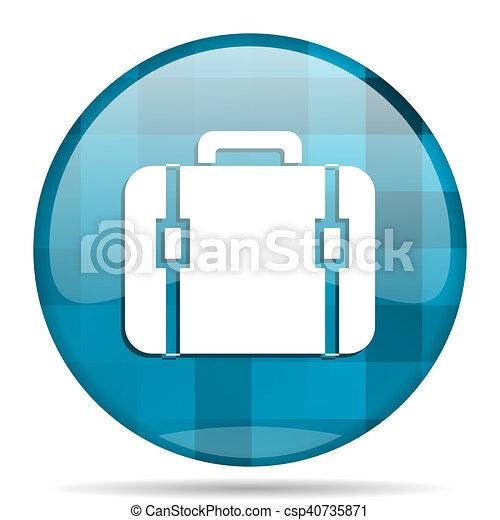 bag blue round modern design internet icon on white background - csp40735871