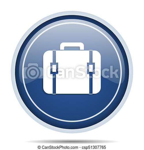 Bag blue round web icon. Circle isolated internet button for webdesign and smartphone applications. - csp51307765