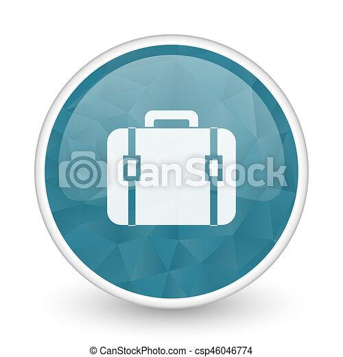 Bag brillant crystal design round blue web icon. - csp46046774