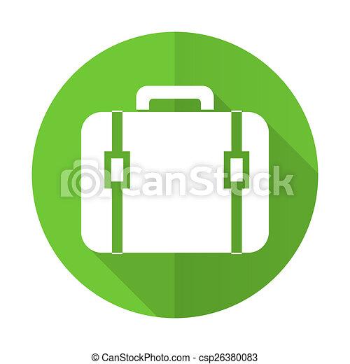bag green flat icon luggage sign - csp26380083