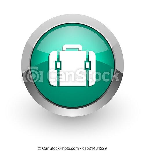 bag green glossy web icon - csp21484229