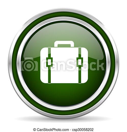 bag green glossy web icon - csp30058202
