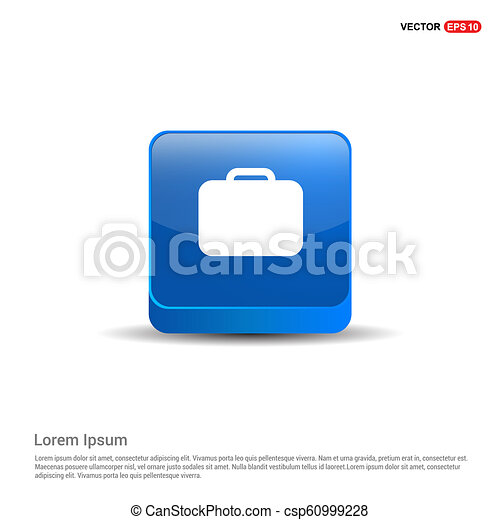 Bag icon - 3d Blue Button - csp60999228