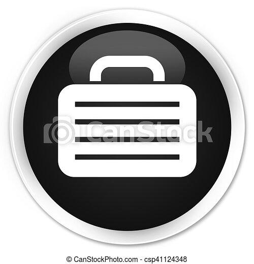Bag icon black glossy round button - csp41124348