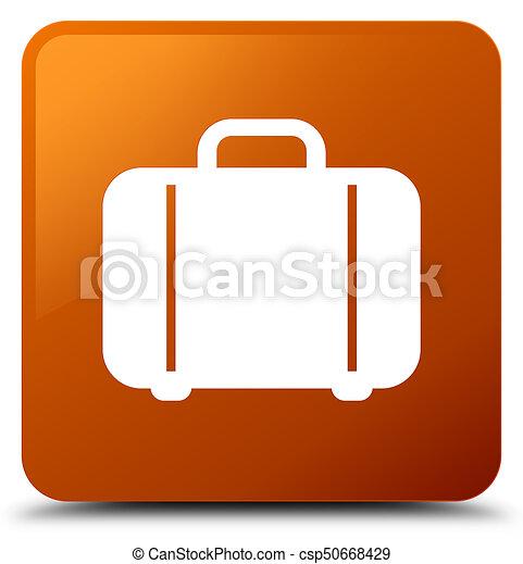 Bag icon brown square button - csp50668429