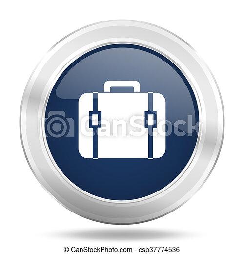 bag icon, dark blue round metallic internet button, web and mobile app illustration - csp37774536