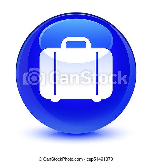 Bag icon glassy blue round button - csp51491370