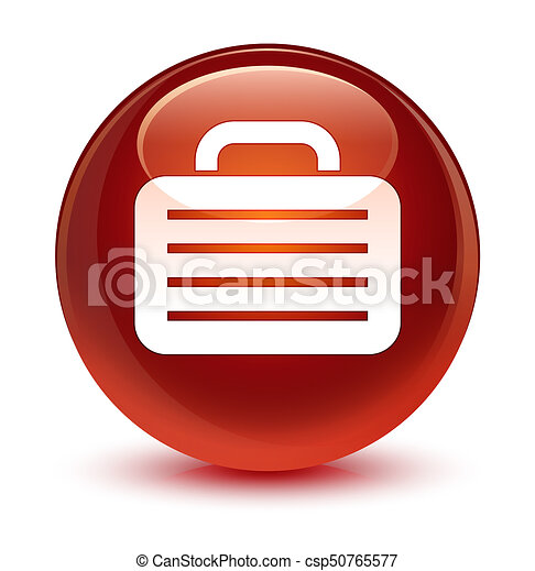 Bag icon glassy brown round button - csp50765577