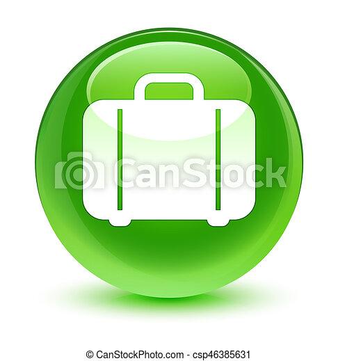 Bag icon glassy green round button - csp46385631