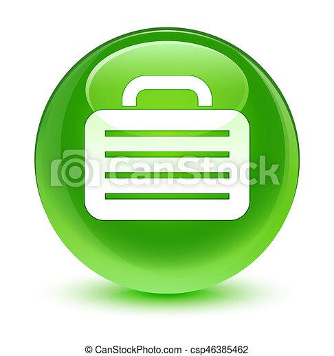 Bag icon glassy green round button - csp46385462