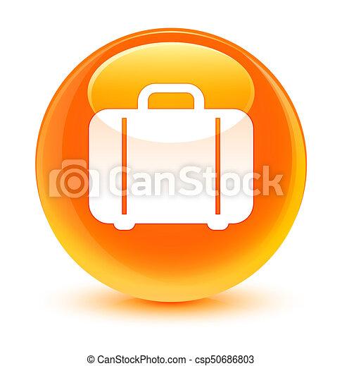 Bag icon glassy orange round button - csp50686803
