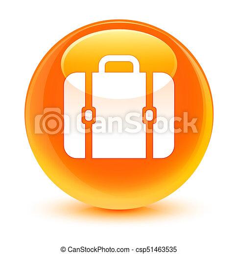 Bag icon glassy orange round button - csp51463535