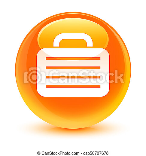 Bag icon glassy orange round button - csp50707678