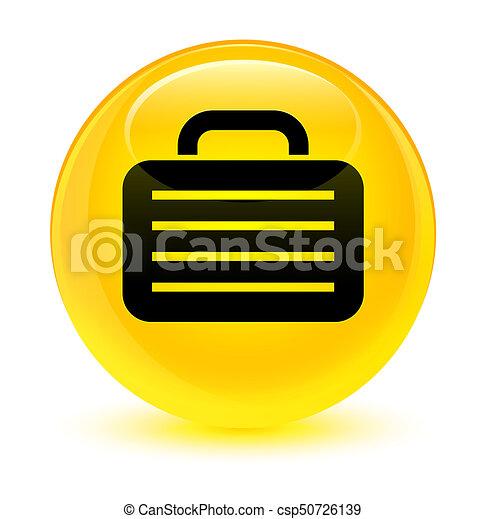 Bag icon glassy yellow round button - csp50726139