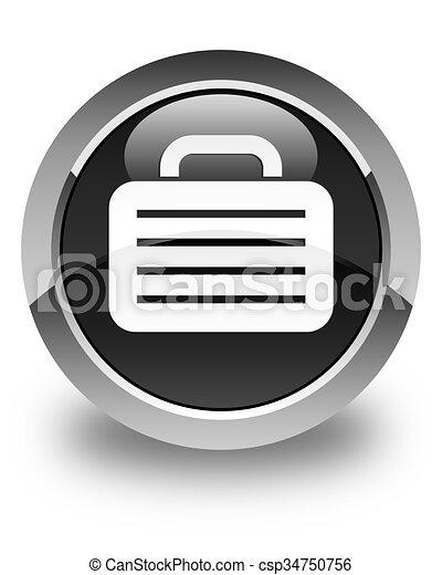 Bag icon glossy black round button - csp34750756