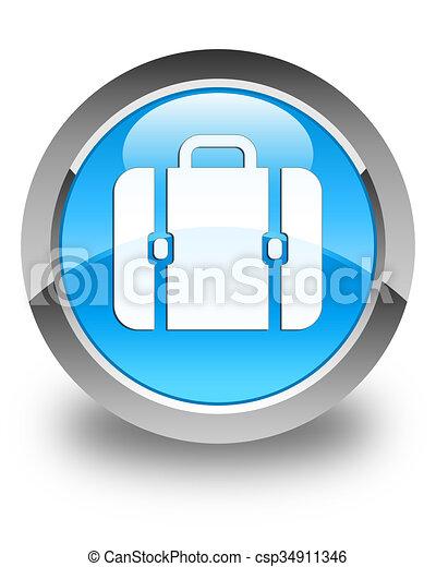 Bag icon glossy cyan blue round button - csp34911346