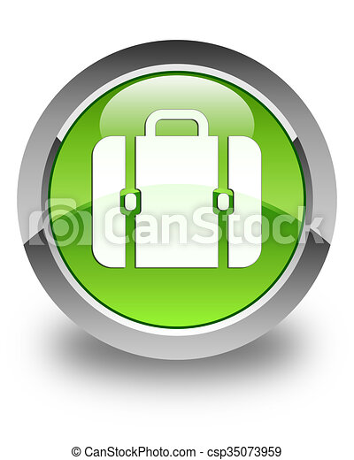 Bag icon glossy green round button 3 - csp35073959
