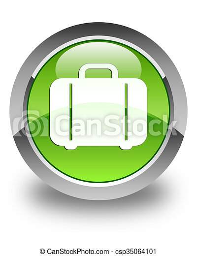 Bag icon glossy green round button - csp35064101