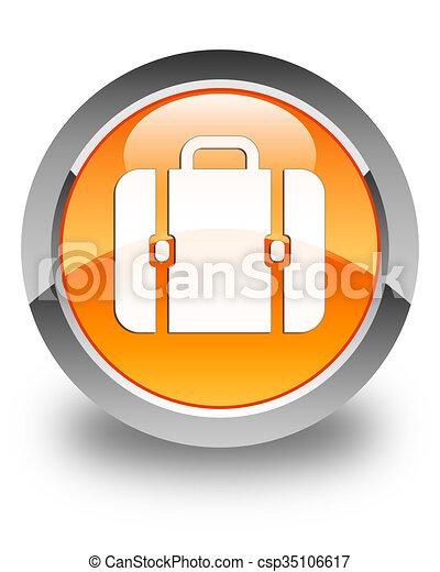 Bag icon glossy orange round button 3 - csp35106617