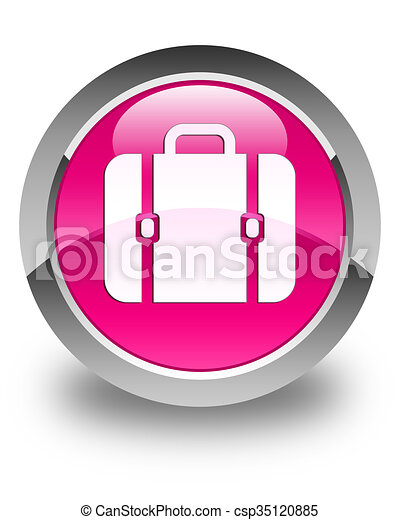 Bag icon glossy pink round button - csp35120885