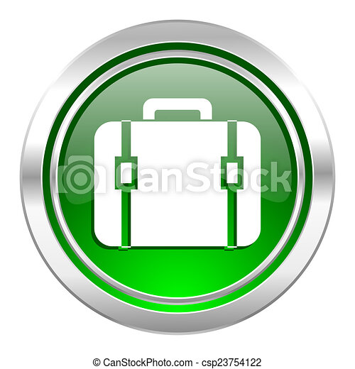 bag icon, green button, luggage sign - csp23754122