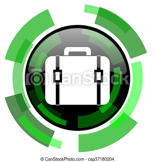 bag icon, green modern design isolated button, web and mobile app design illustration - csp37180204