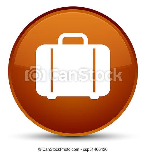 Bag icon special brown round button - csp51466426
