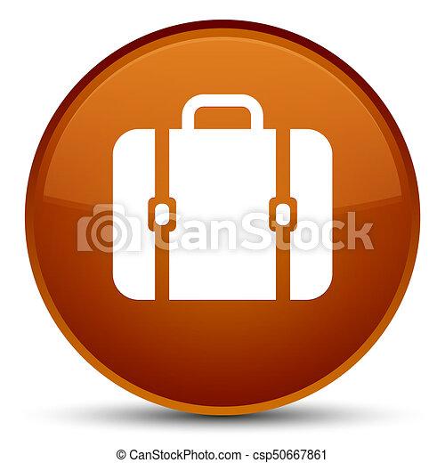 Bag icon special brown round button - csp50667861
