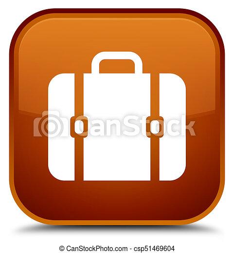 Bag icon special brown square button - csp51469604