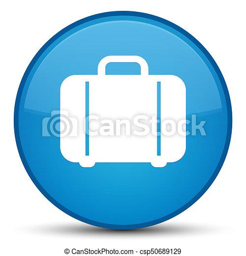 Bag icon special cyan blue round button - csp50689129