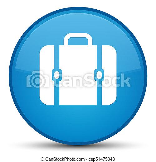 Bag icon special cyan blue round button - csp51475043