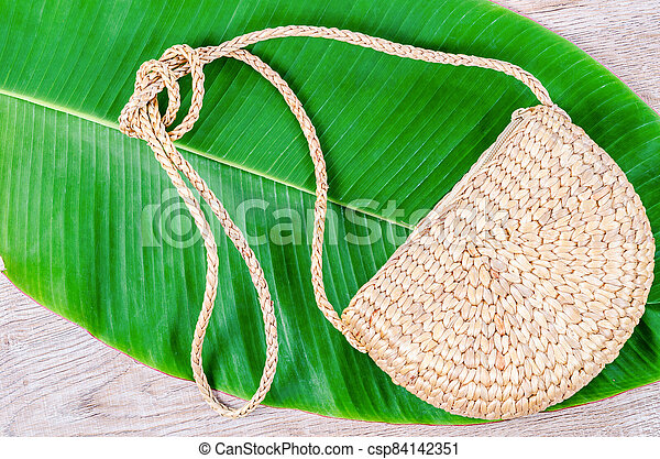 Bag made from dry Water hyacinth. - csp84142351