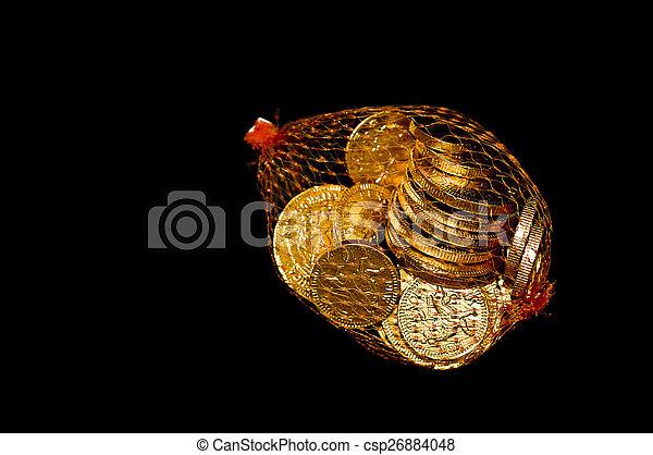 Bag of Chocolate coins - csp26884048