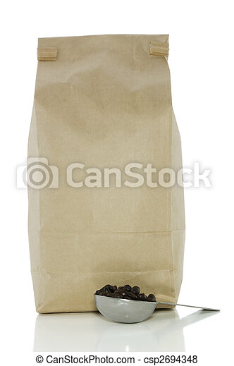 Bag of coffee and scoop on white - csp2694348