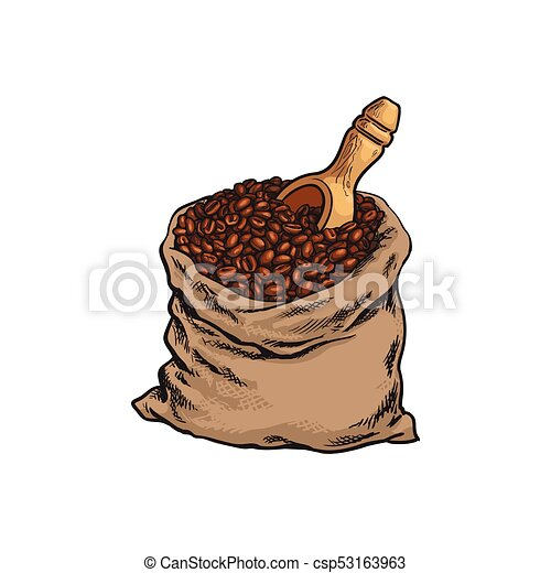 bag of roasted coffee beans with a wooden shovel cloth