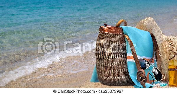 bag on sea background - csp35873967