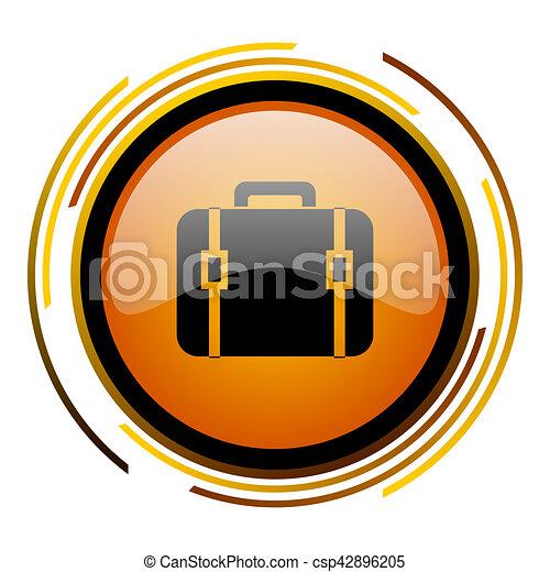 bag round design orange glossy web icon - csp42896205