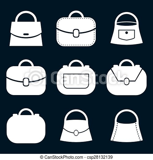 Bag Vector Icons Set Fashion Theme Symbols Collection