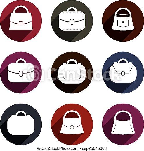 Bag vector icons set, fashion theme - csp25045008