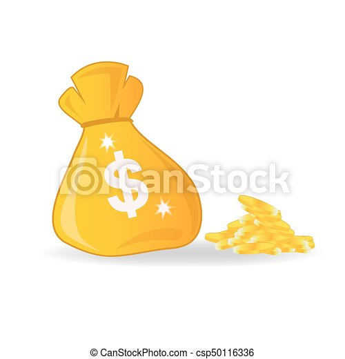 bag with money, vector illustration - csp50116336