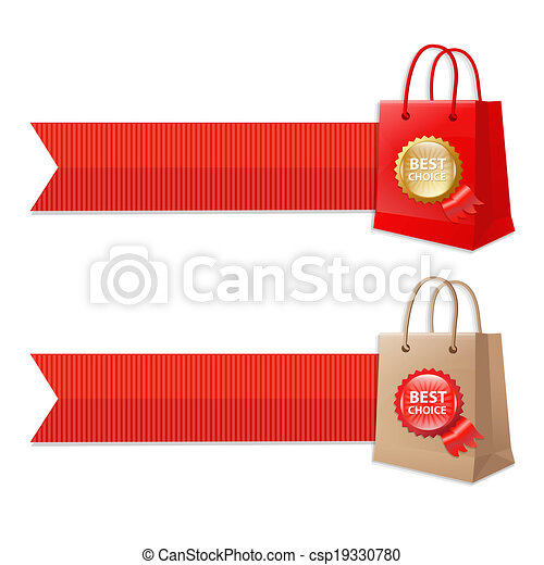 Bag With Ribbons And Label - csp19330780